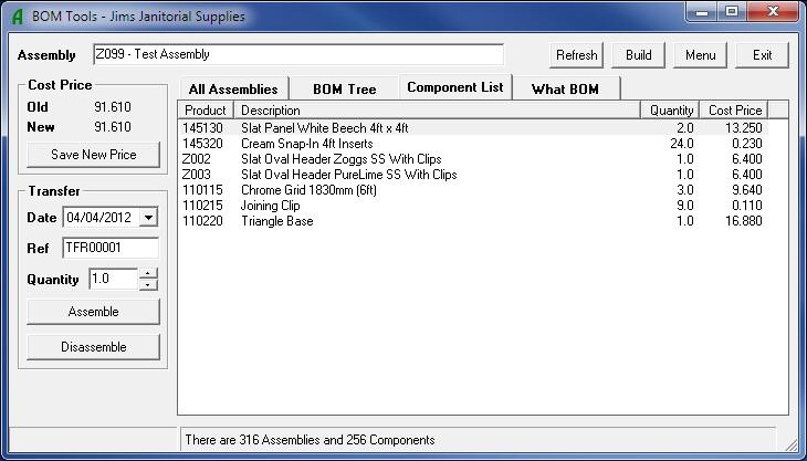 BOM Tools - Component List Tab