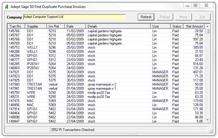 Adept Sage 50 Find Duplicate Purchase Invoices