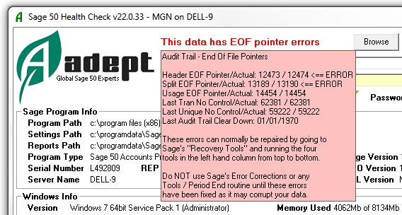 EOF Pointer Errors